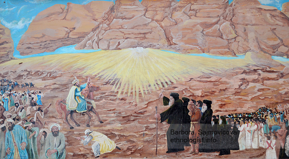 The illustration of the miracle ´Moving the Mokattam mountain´ by Saint Simon. On the left side we can see the Caliph Al-Mu´izz in the horse saddle. On the right side is the Coptic Patriarch Abraham holding a crucifix, behind him is the Saint Simon. Photo: Barbora Sajmovicova, 2011, Nikon D3100.