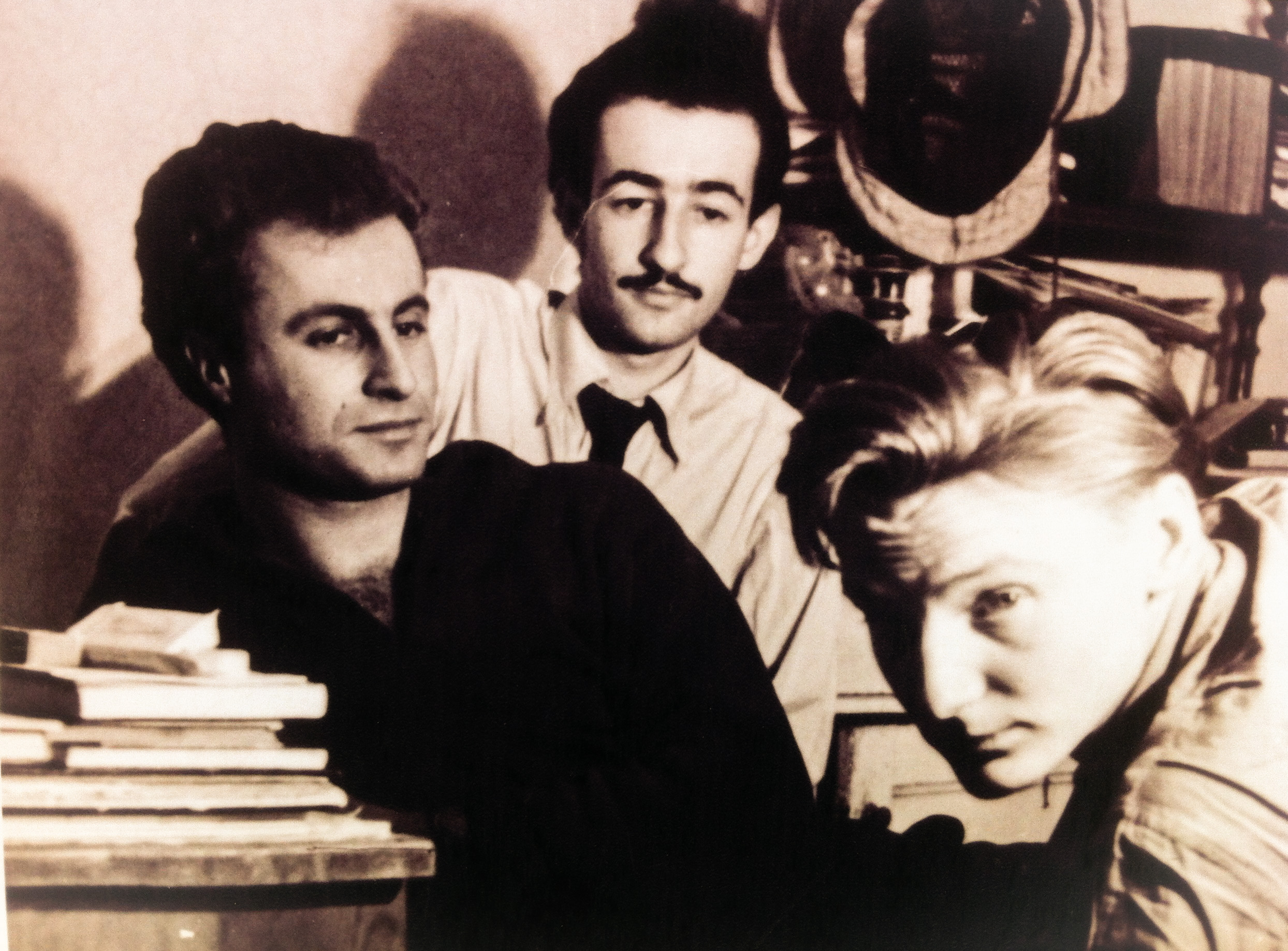 Young Juraj Sajmovic (left) and famous director Juraj Herz (middle) in student house. Photo: Family Archiv of Juraj Sajmovic Junior