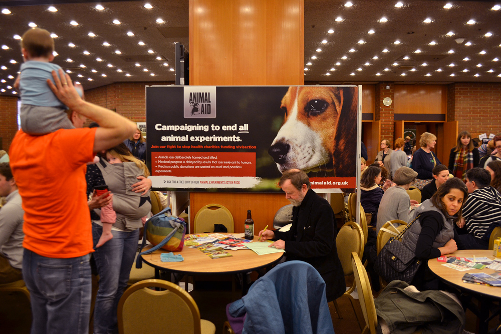 The view on the panel of Animal Aid indicating the suffering of laboratory animals. Photo: Barbora Sajmovicova, 2015.