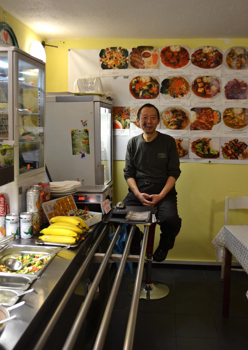 Jian Guo Chen in his vegan restaurant Vegetka. Photo: Barbora Sajmovicova, 2016, Prague.
