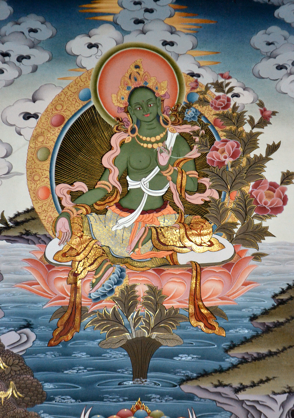 Green Tara in Vegetka is depicted with one foot in the lotus position and with the other leg up and ready to intervene at any time, for good and to help all sentient beings. Photo: Barbora Sajmovicova, 2016, Prague.