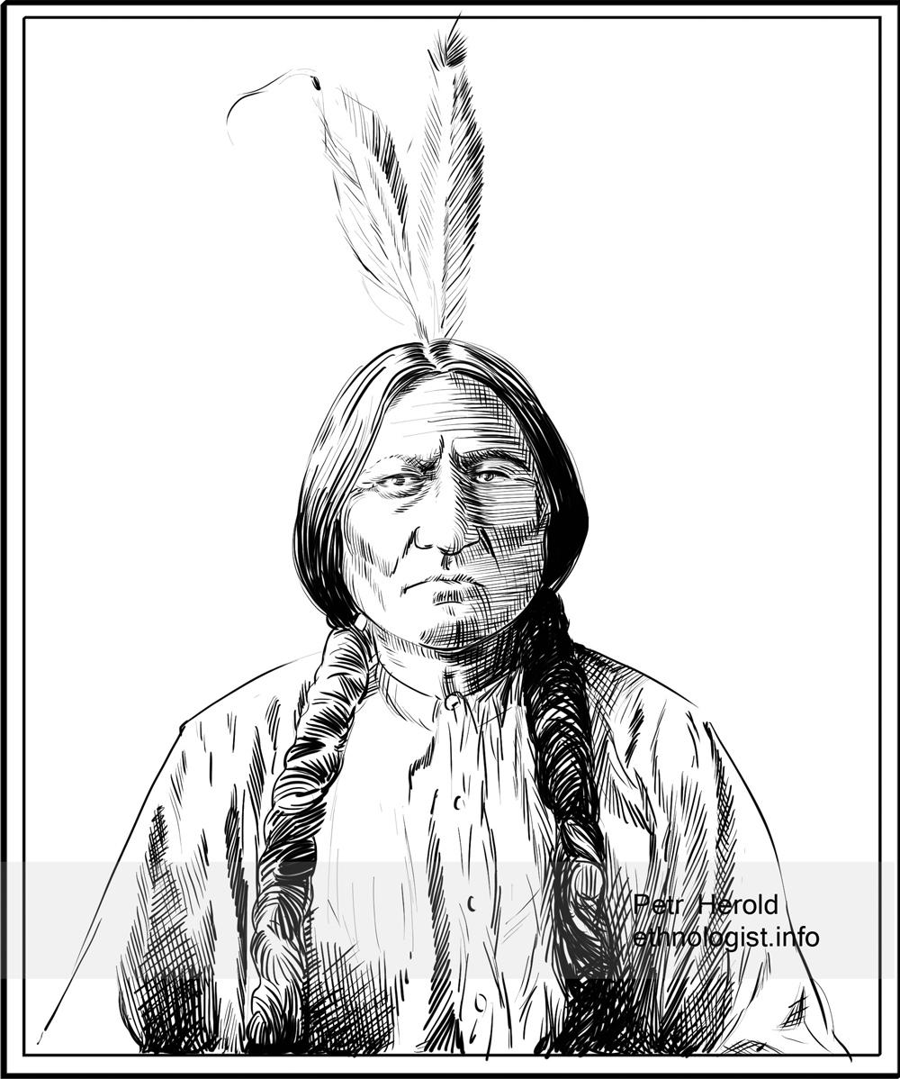 Siouxský náčelník Sedící býk (Sitting Bull). Kresba: Petr Herold
