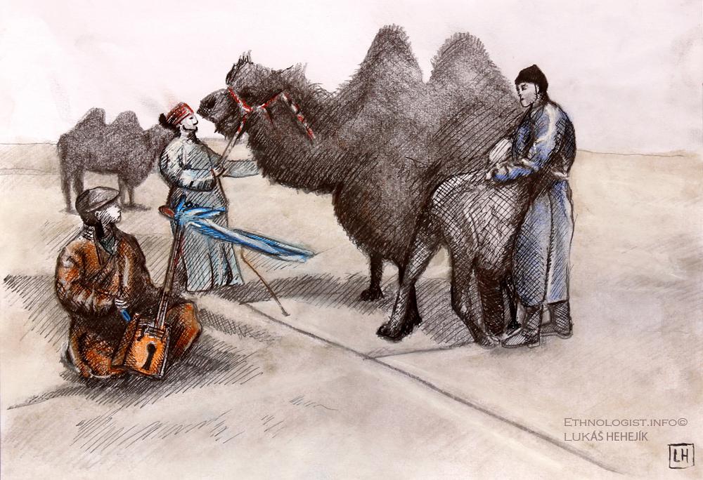 """Mongolský obřad """"přemlouvání"""" velblouda. Kresba: Lukáš Hehejík, Praha, 2017."""