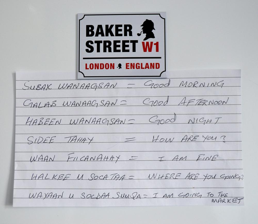The basic Somali phrases written by the Somali living in London. Photo: Barbora Zelenkova (Sajmovicova)