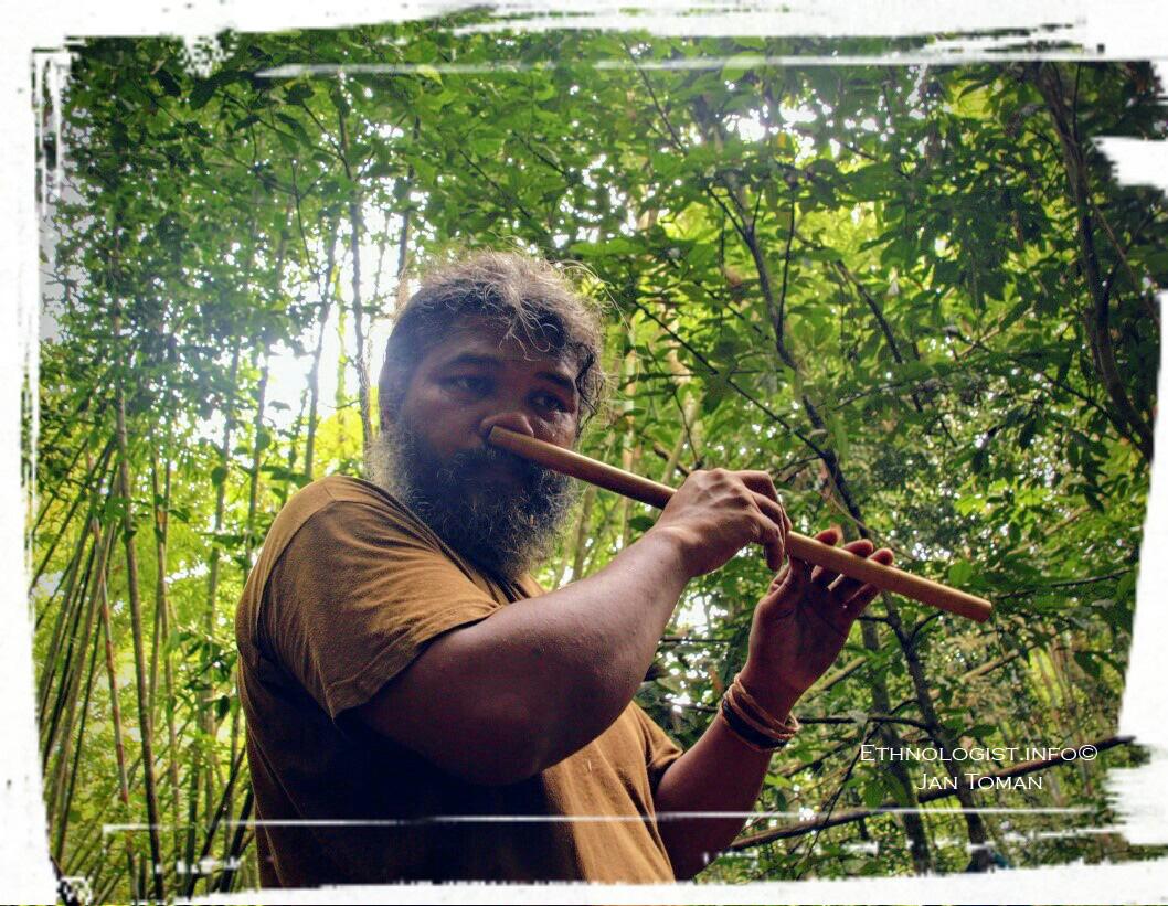 """Domorodý průvodce Orang Asli při hraní na tradiční flétnu """"bensol"""" v pralese. Foto: Jan Toman"""