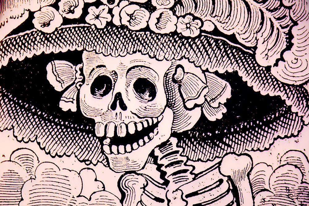 The picture of ´La Calavera Catrina´ by the Mexican cartoonist José Guadalupe Posada, which has become one of the main icons of the Mexican Day of the dead. Photo: Barbora Zelenkova, London, 2018, Nikon D500.